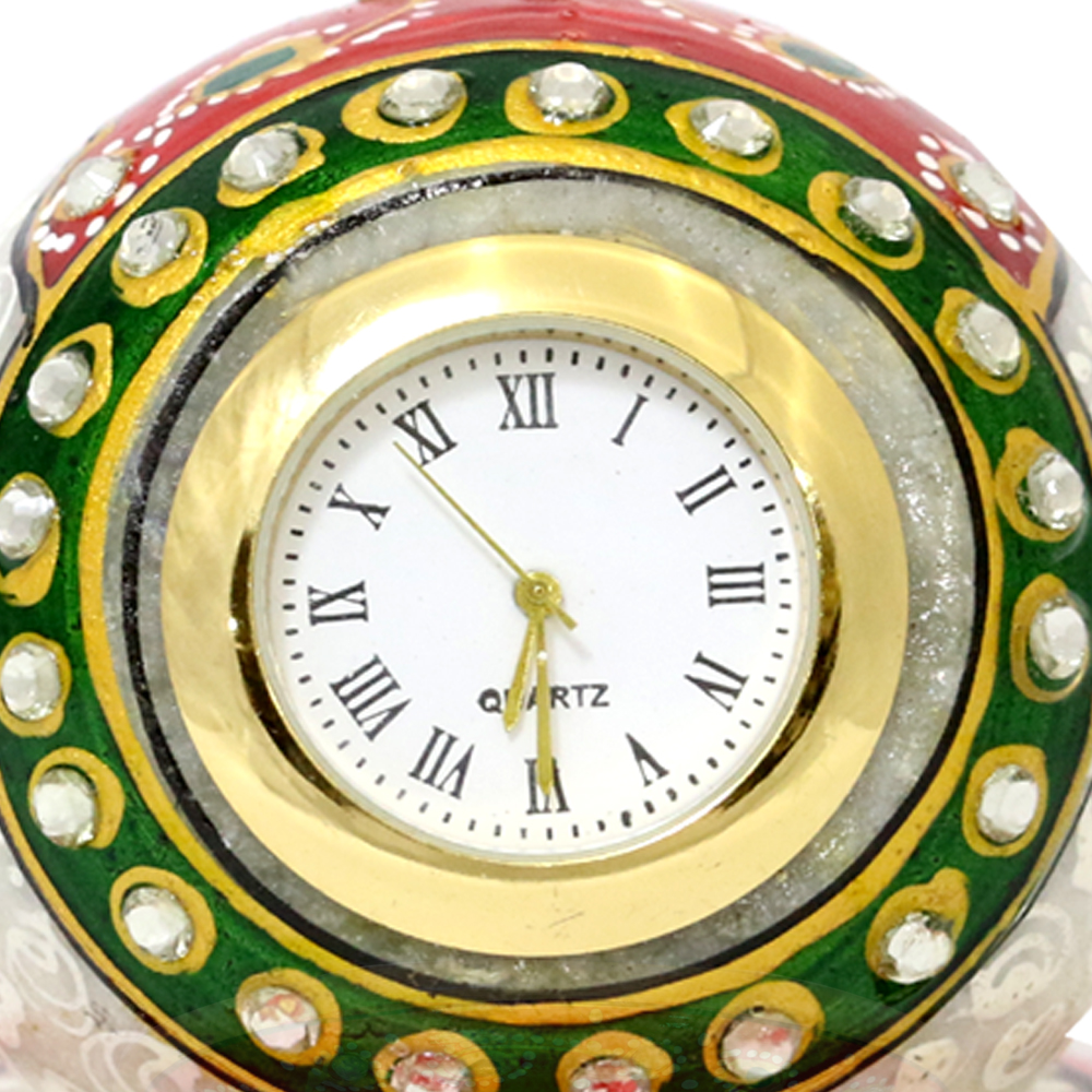 Marble paperweight style clock with beautiful meena work