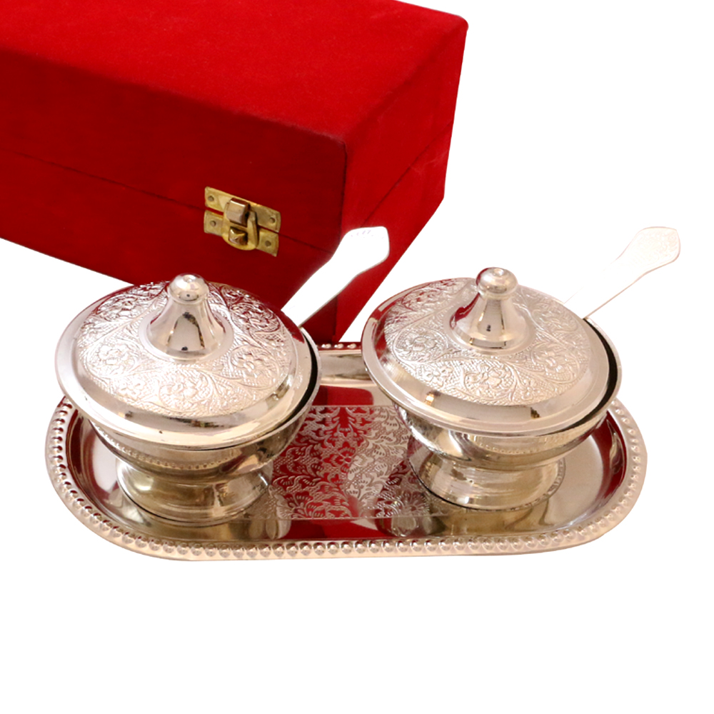 German Silver Made Twin Bowl Set With Lid, Tray and Spoon
