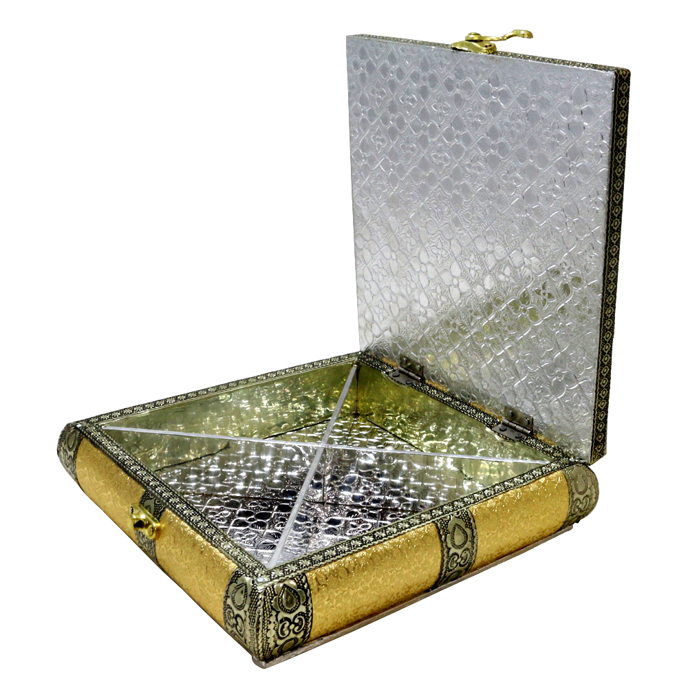 Dry Fruit Box Made Of Wood, Brass & Resin To Garnish Your Table Top