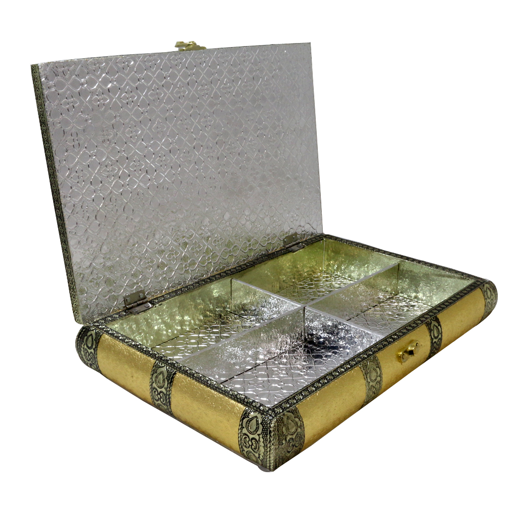 Dry fruit storage box made of wood & crafted with brass on top