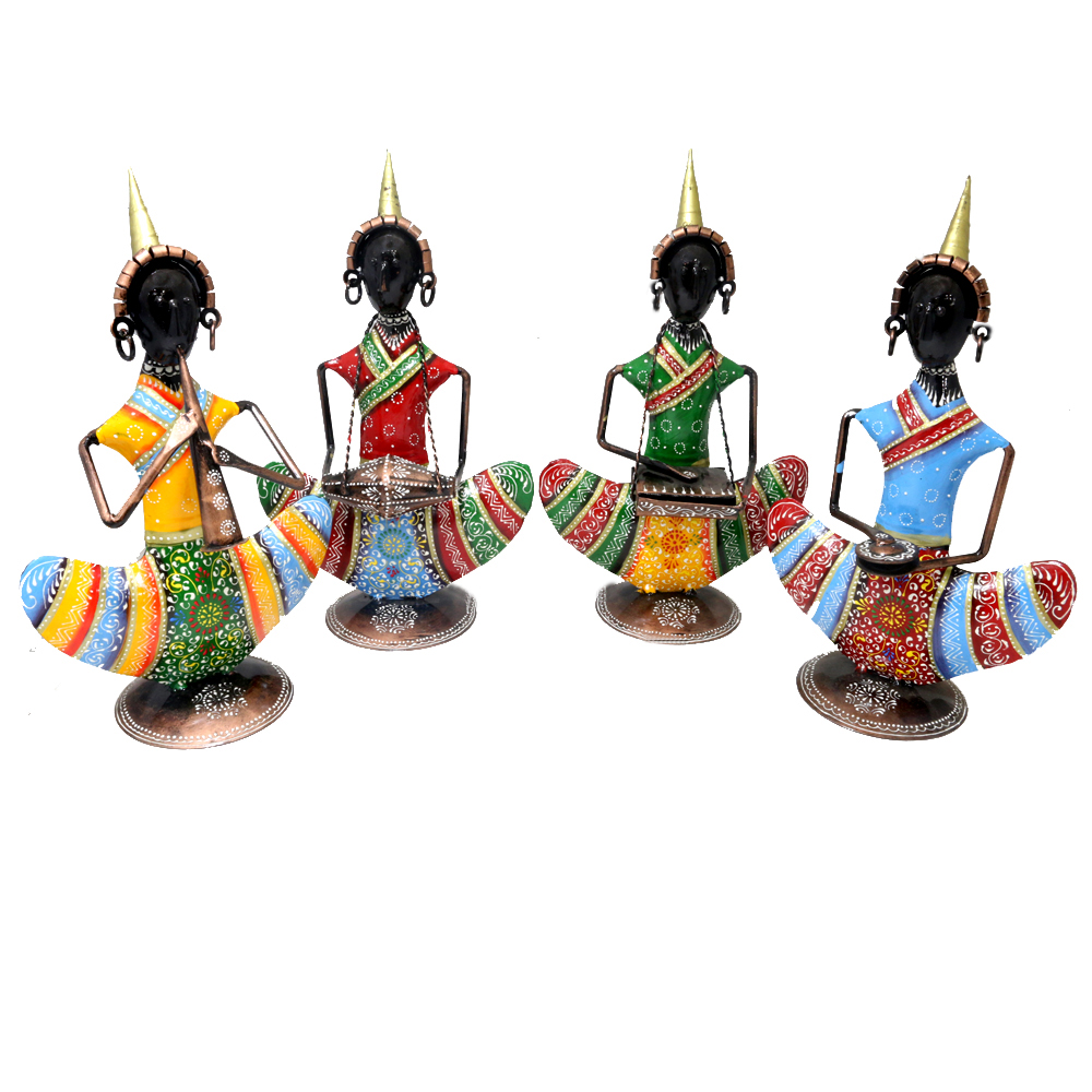 Vibrant and superbly crafted metal tribal musician dolls for household decoration
