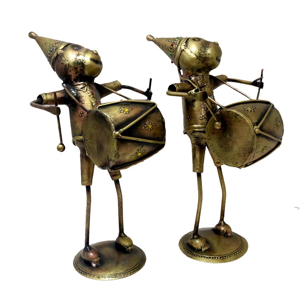 Set of brass made musician monkeys
