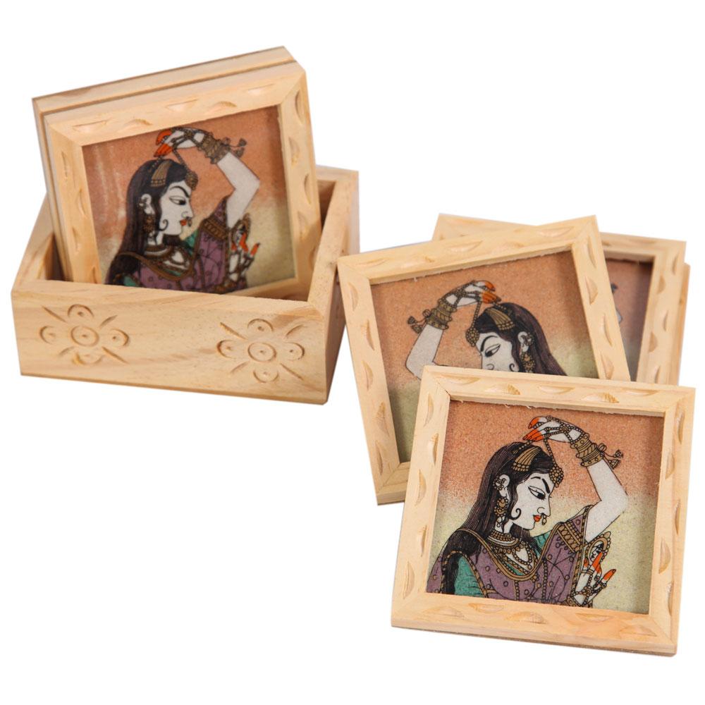 Kadamb wood coaster with bani thani print
