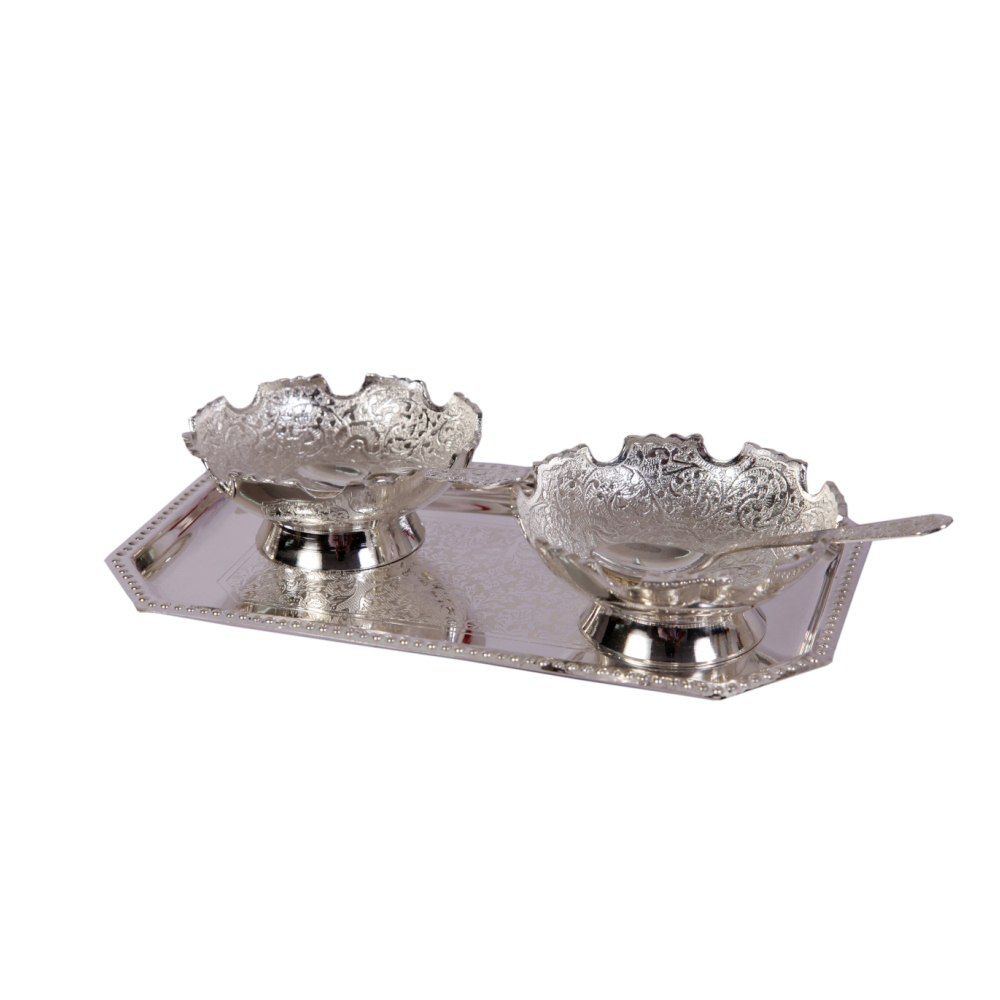 German Silver 2 Bowl Set with Spoons & Serving Tray