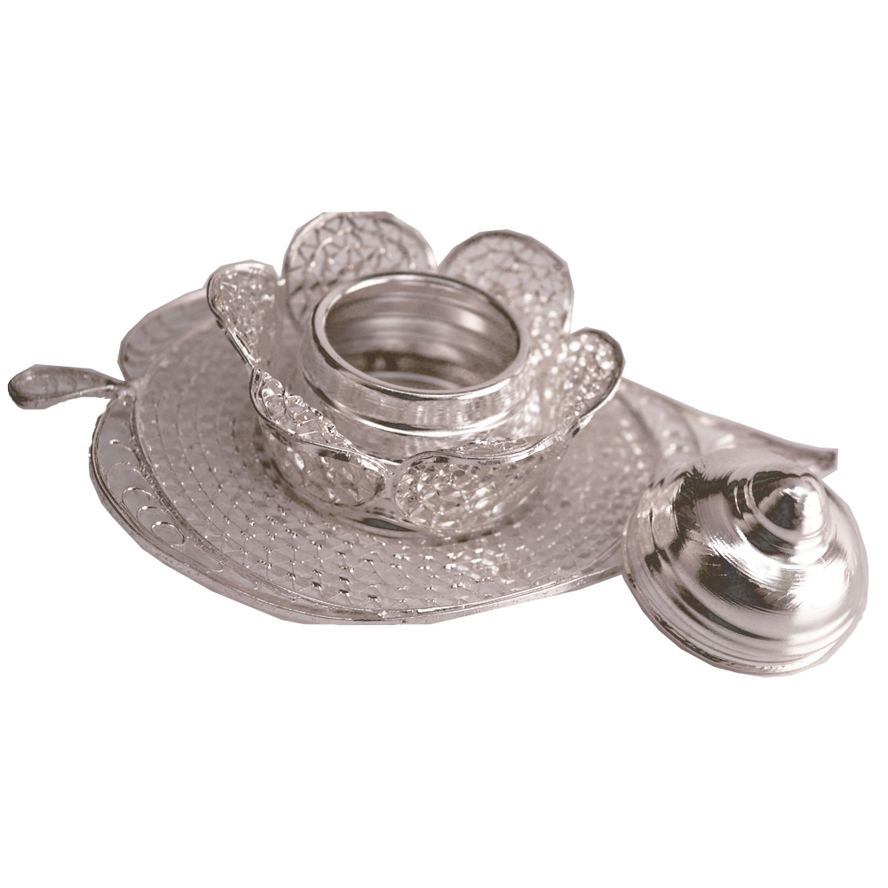 German Silver Paan Shaped Sindoor Dibbi