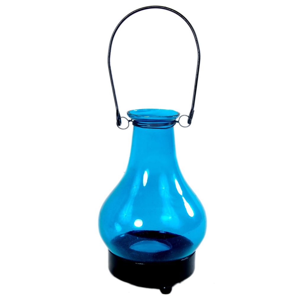 Glass lalten shaped candle holder