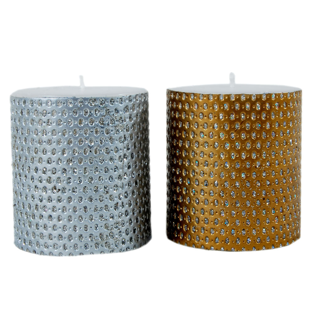 Golden & silver coated candle pair