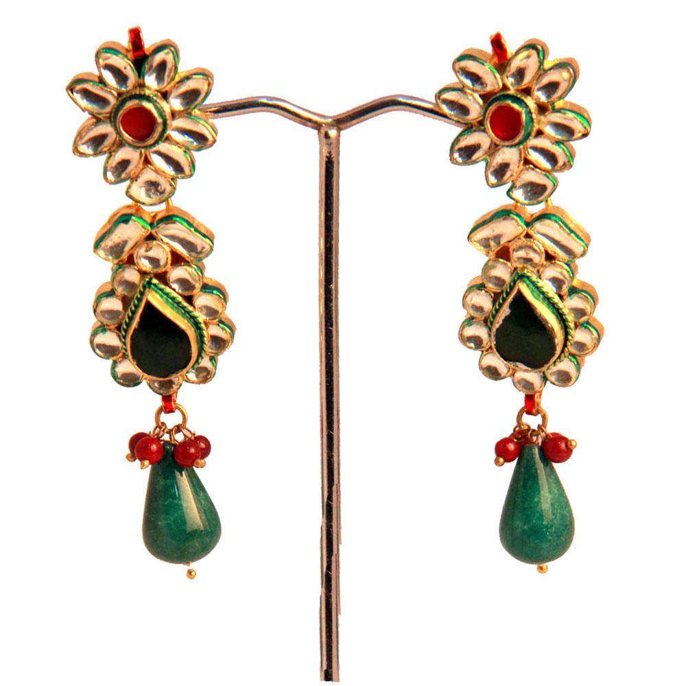 Green stoned earrings