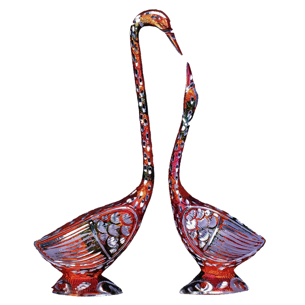 Intricate meenakari worked metal swan pair
