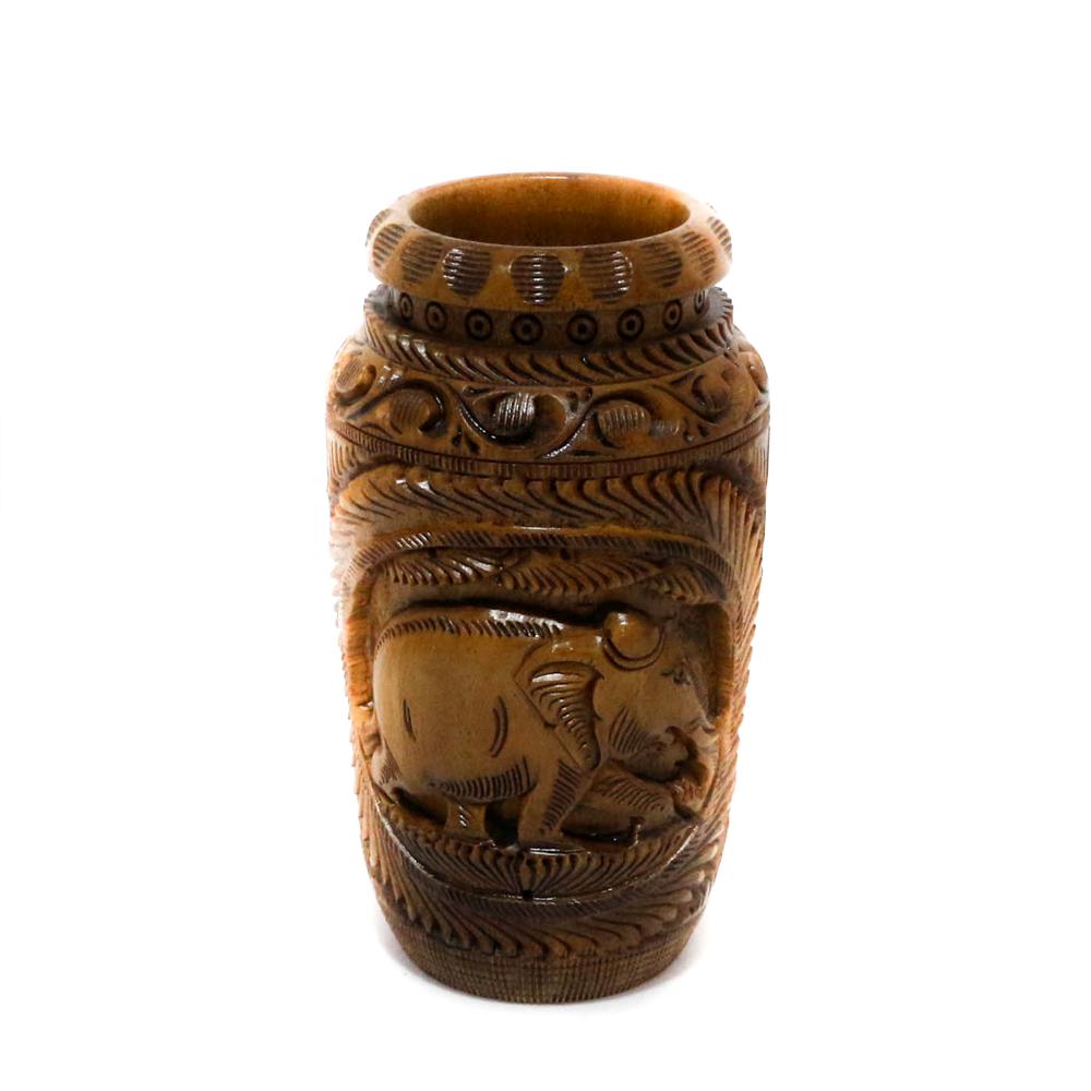 Intricately designed wooden Flower vase