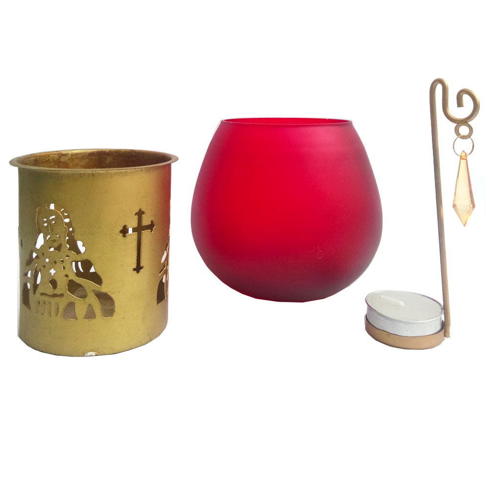 Jesus Christ with cross symbol aroma oil burner candle with t-lite candle for christmas