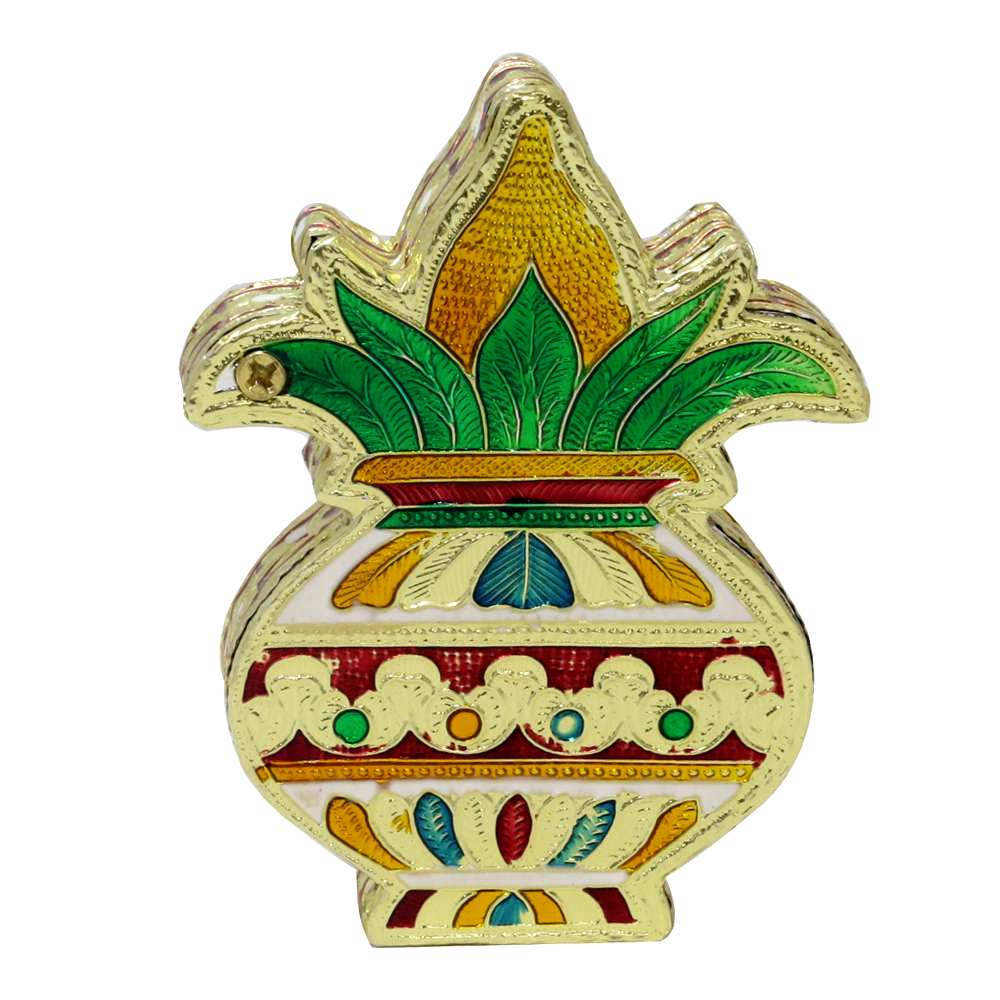 Kalash shaped wooden small size dryfruit box with meenakari design.
