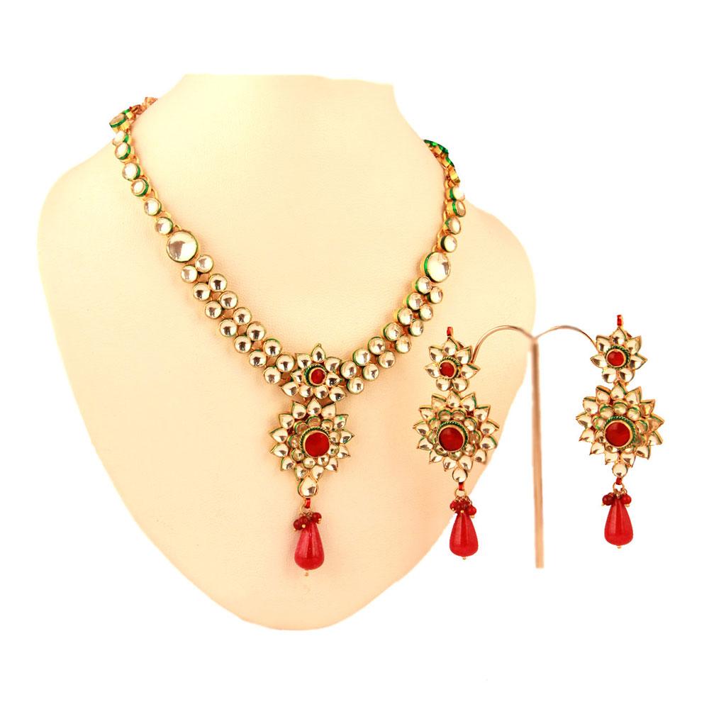 Kundan set with red meena