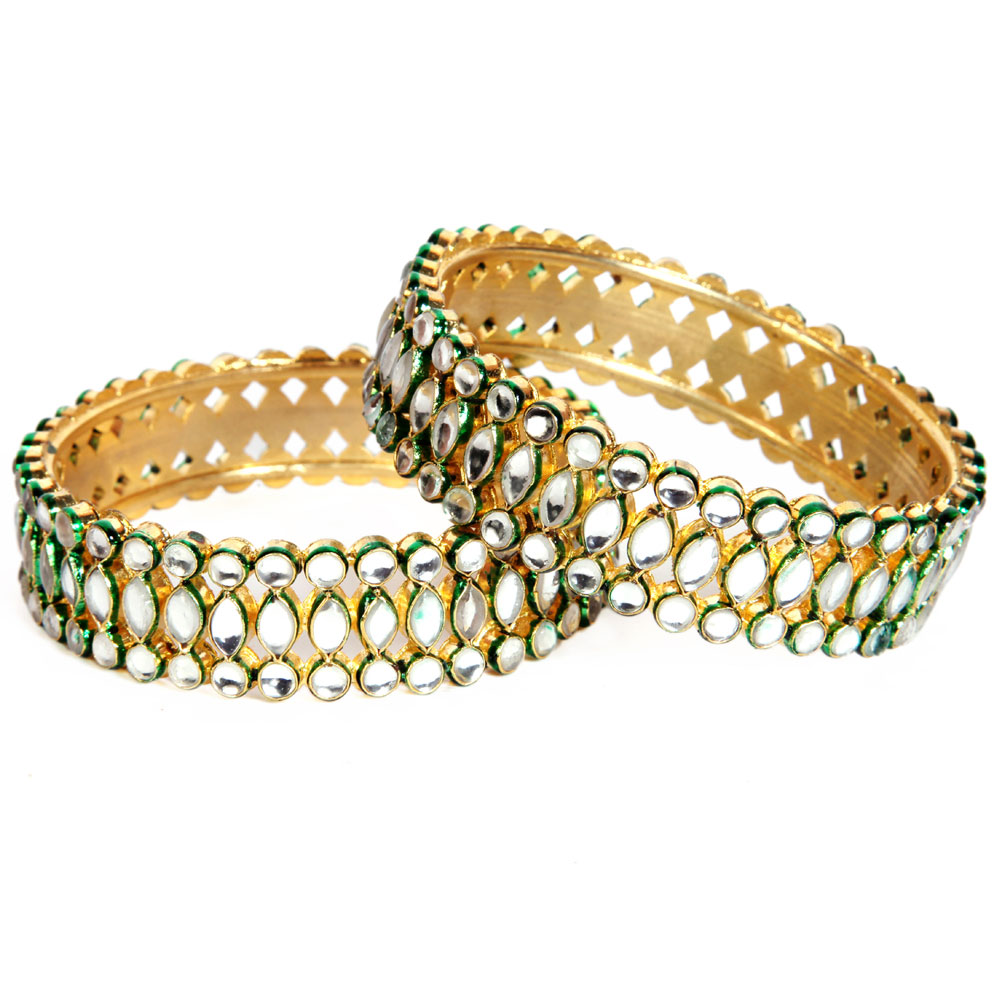 Kundan with green shaded stones bangles