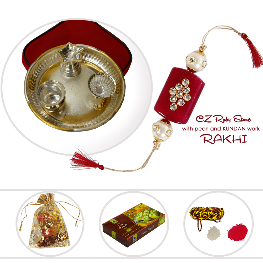 Lovely Rakhi For Bhaiya With German Silver Pooja Thali & Delicious Sweets