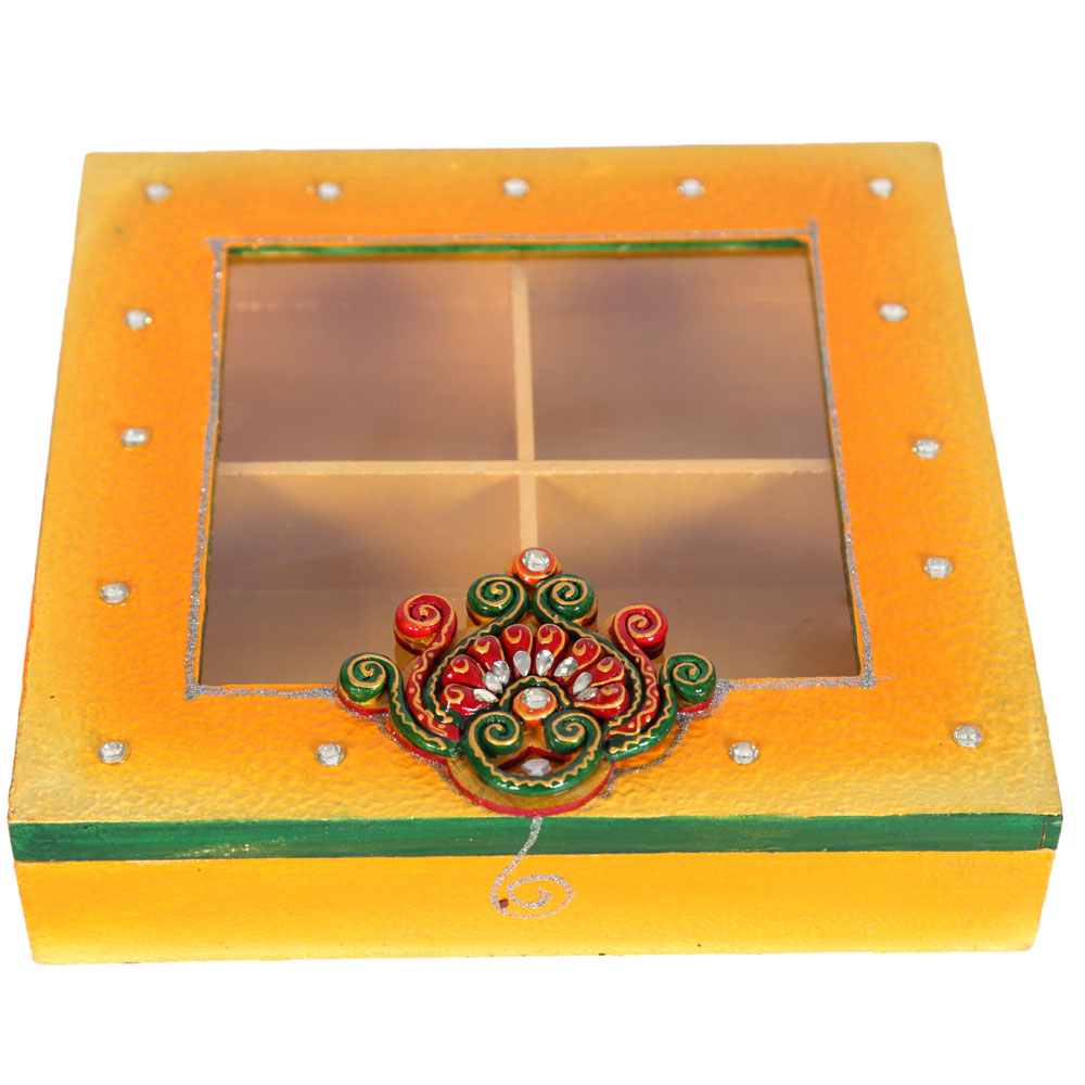 Kundan designer dry fruit box