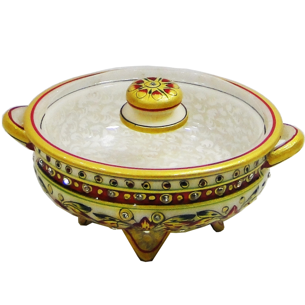 Marble dryfruit container with marble lid