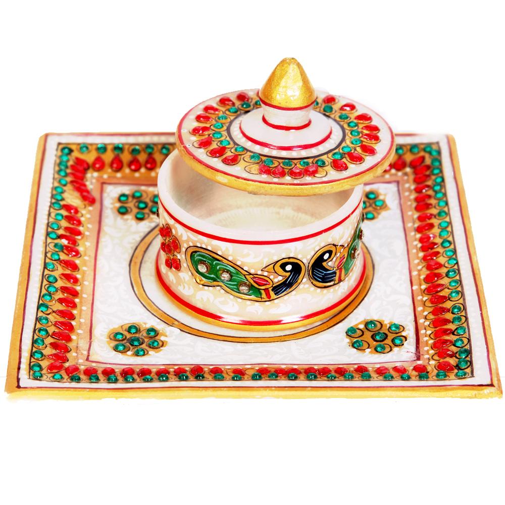 Marble single dibbi meenakari pooja plate