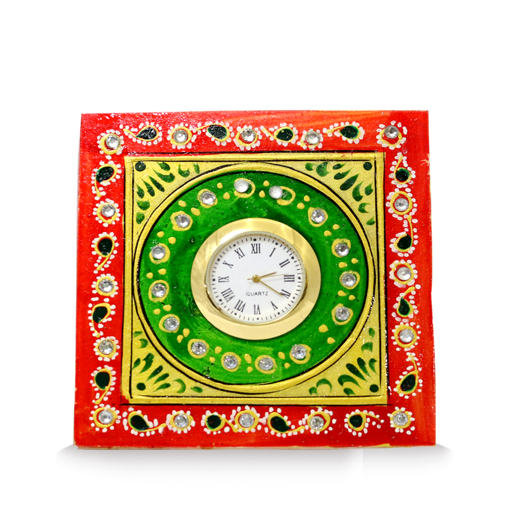 Marble Table Clock In Tri-Color
