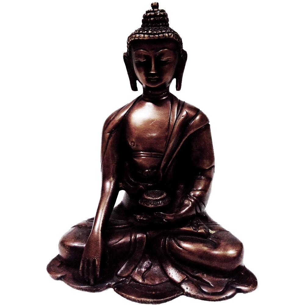 Meditative mahatma buddha statue in brass metal