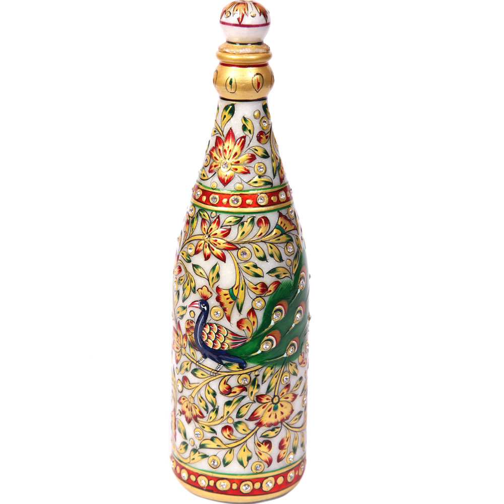 Meenakari marble champagne bottle