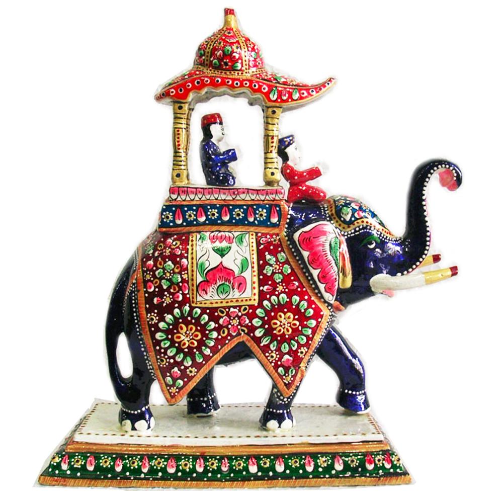 Meenakari metal elephant showpiece