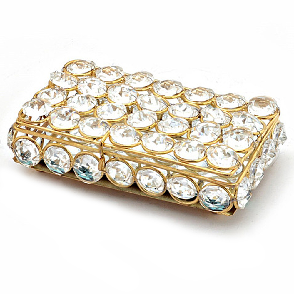 Metal Framed Crystal Box for Jewellery or Cards