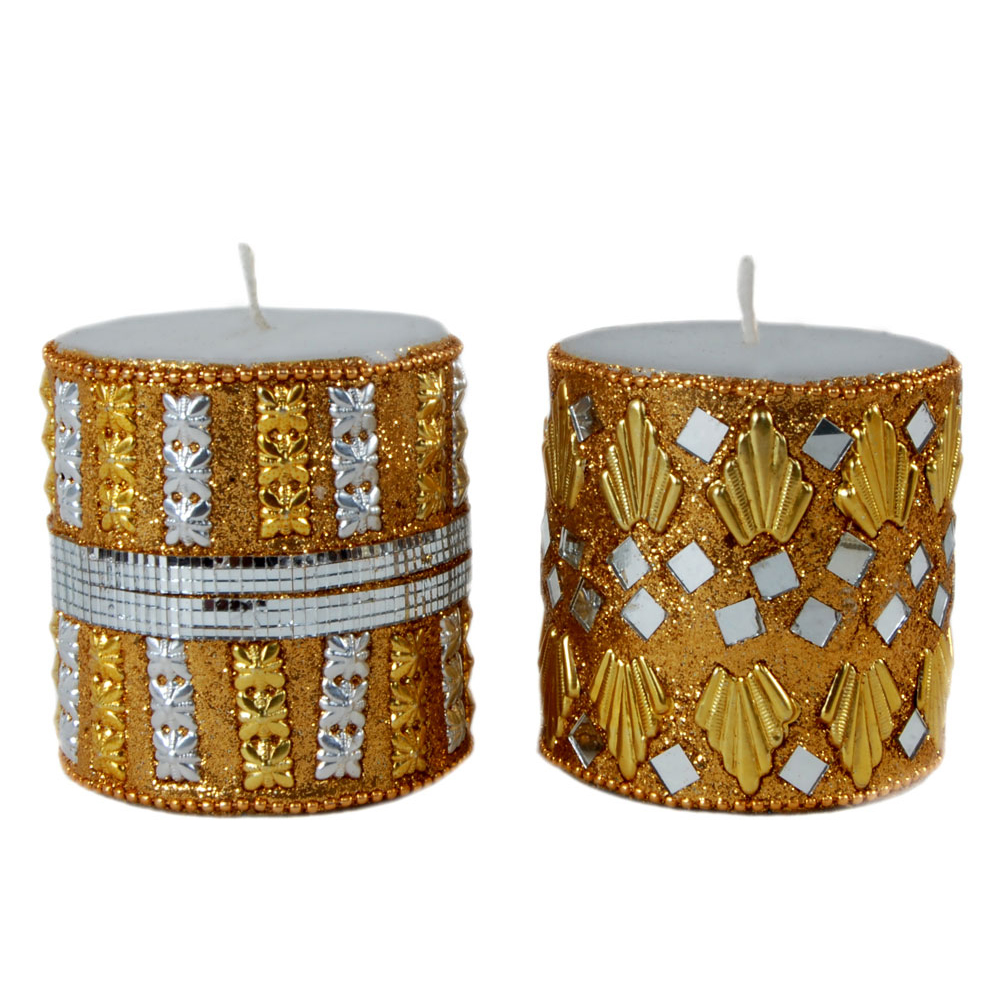 Mirror & beads work candle pair