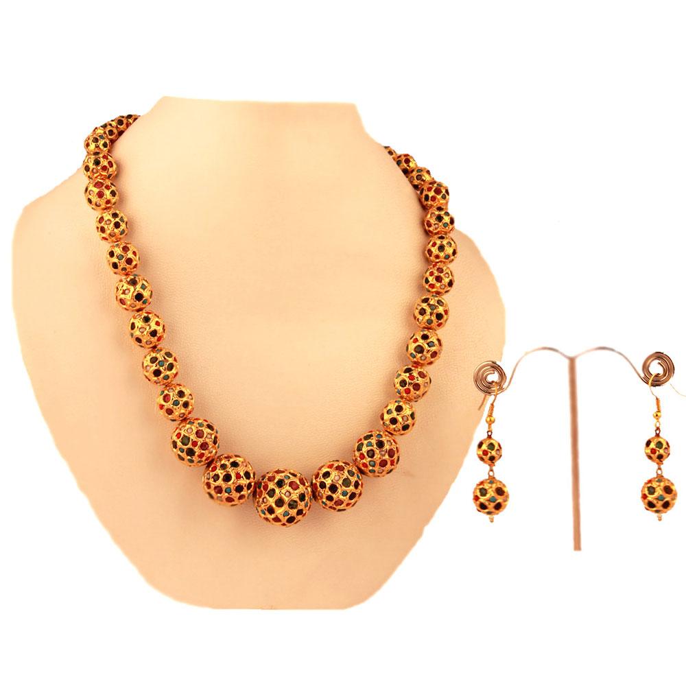 Navaratan hanging balls necklace