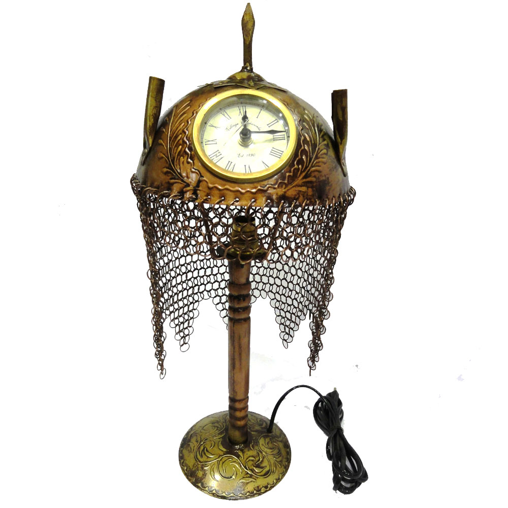 Ornamental brass head cover with clock and night lamp