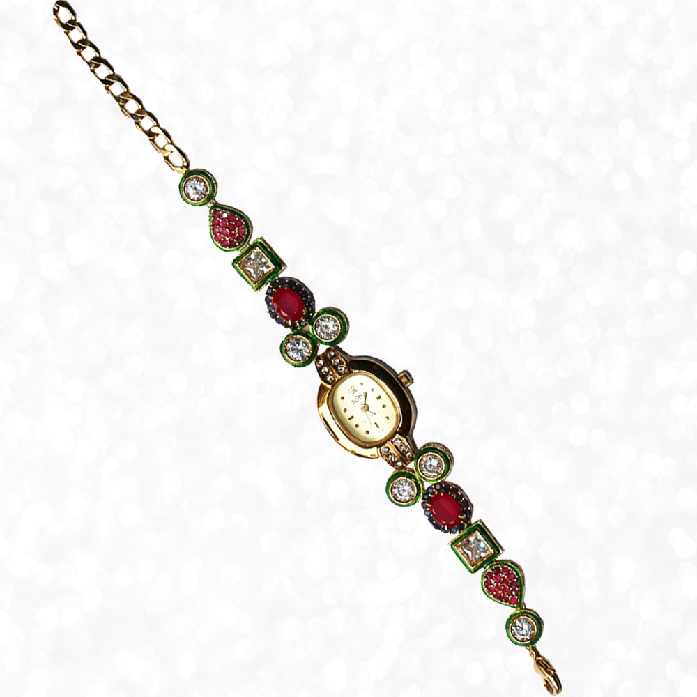Oval Shaped Dialer Wrist Watch with CZ Ruby and Kundan work