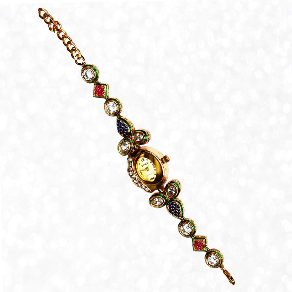 Oval Shaped Kundan Work Dialer Wrist Watch with CZ Stones and Kundan Work