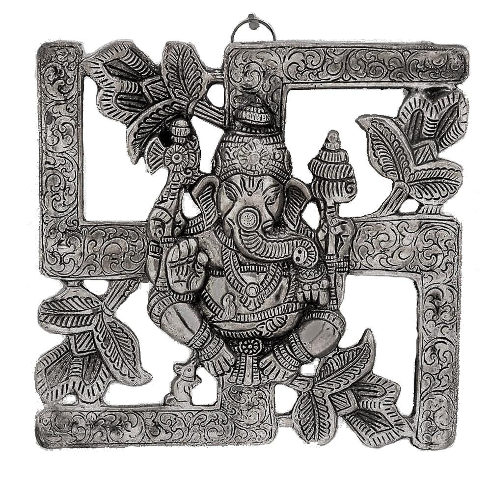 Oxidised Wall Hanging With Ganesha On Swastik Symbol