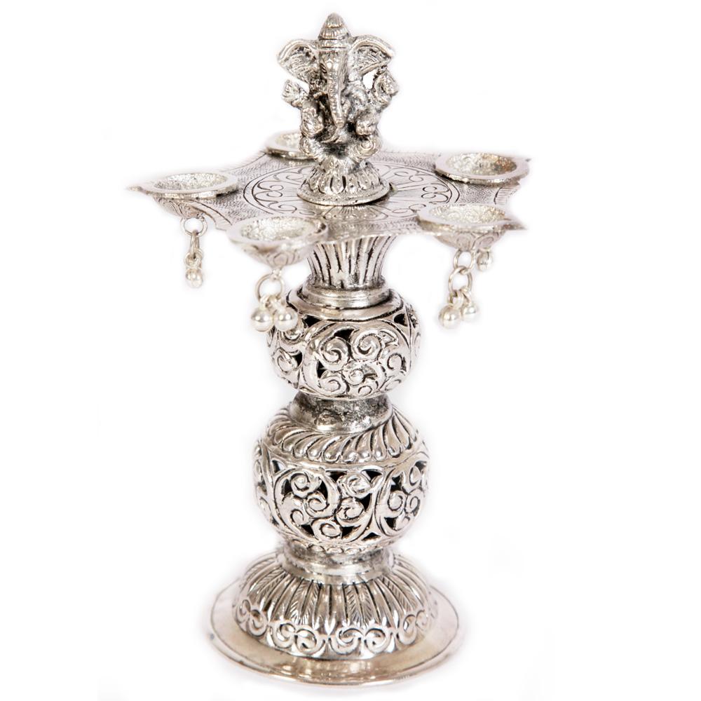 Oxidised pillared diya made up of brass
