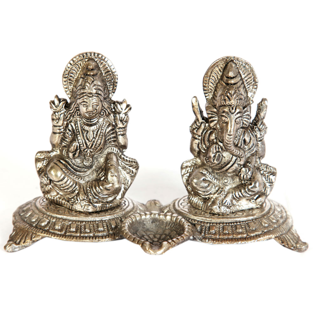 Oxidised traditional ganesh lakshmi sculpture for diwali pooja