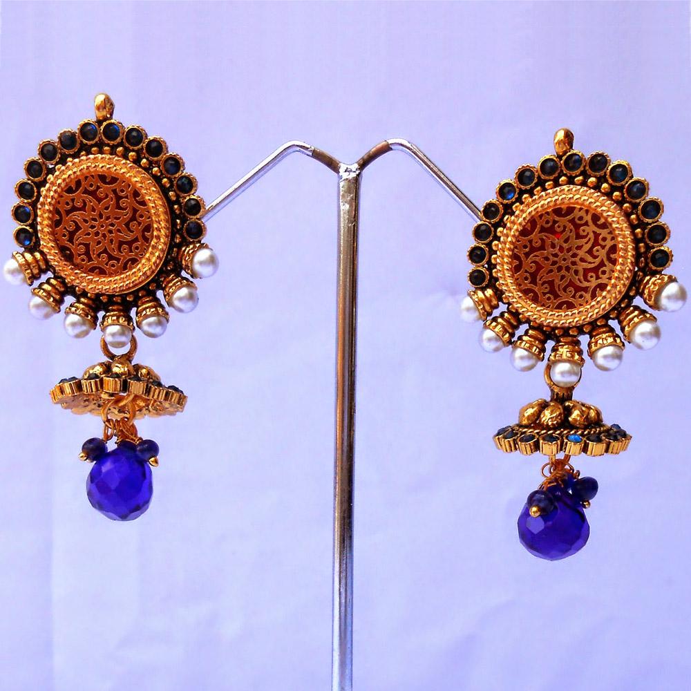 Pair of blue hanging earrings