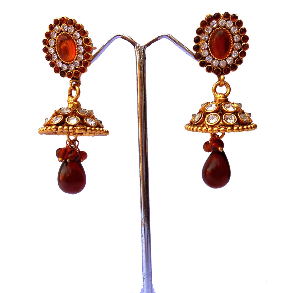 Pair of red stone studded jhumka earrings