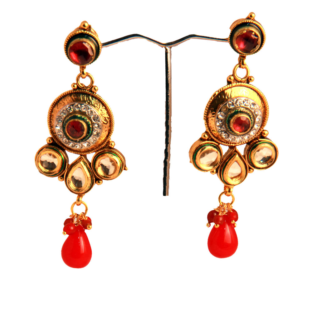 Combo of pearl & kundan earrings