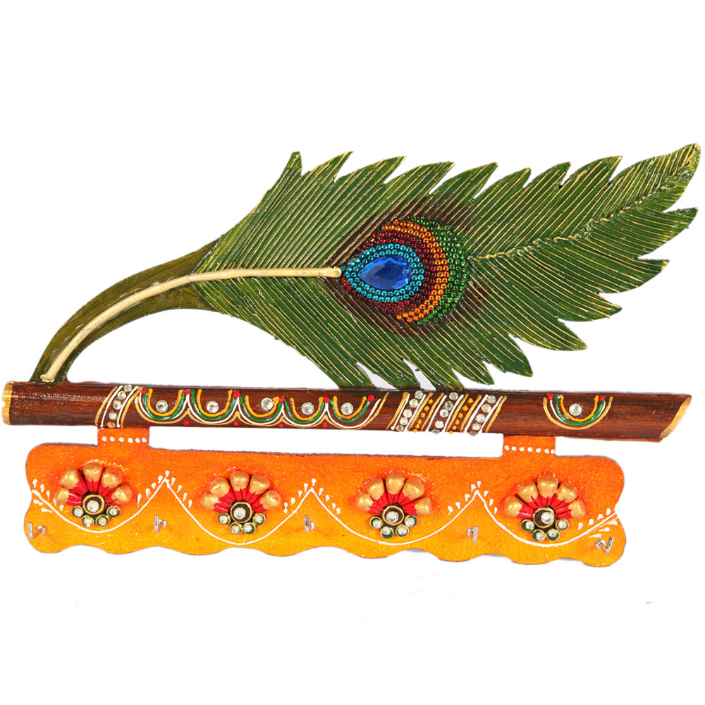 Peacock feather key stand