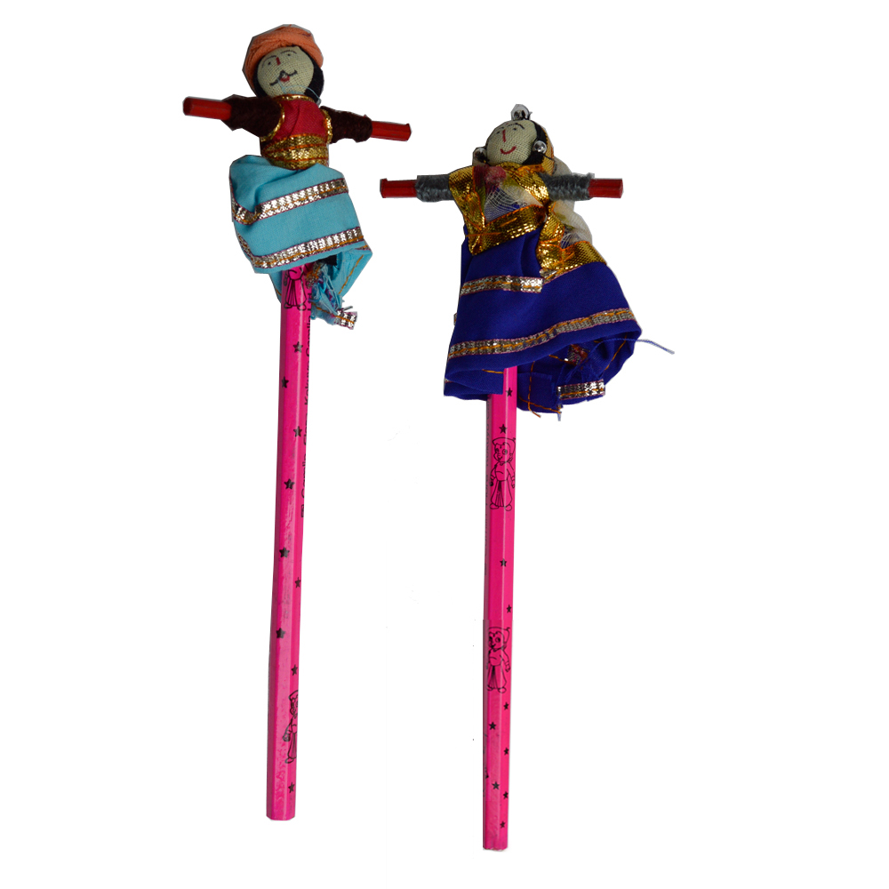 Pencil Pair with Rajasthani Bani Thani on Top