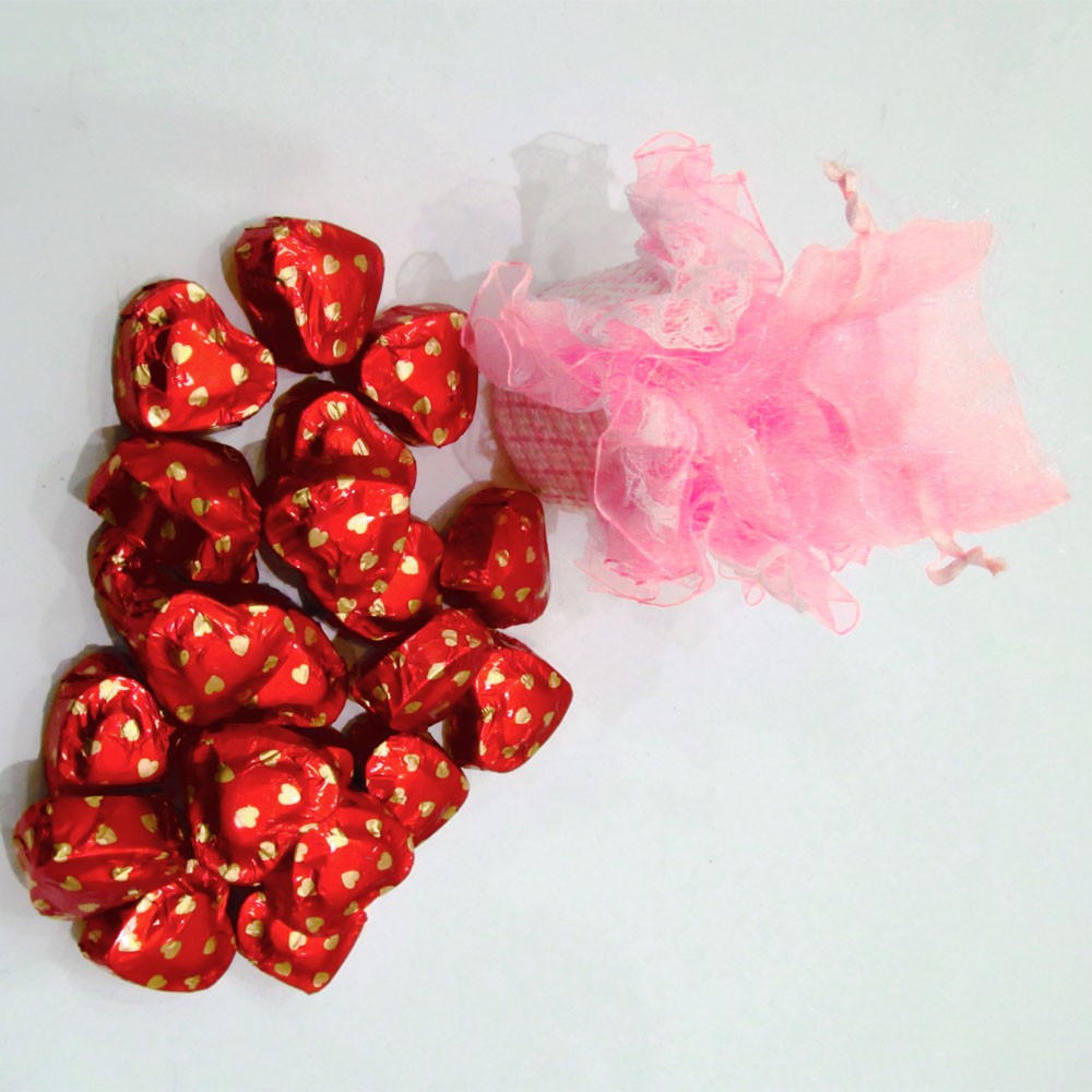 Pink chocolate pouch