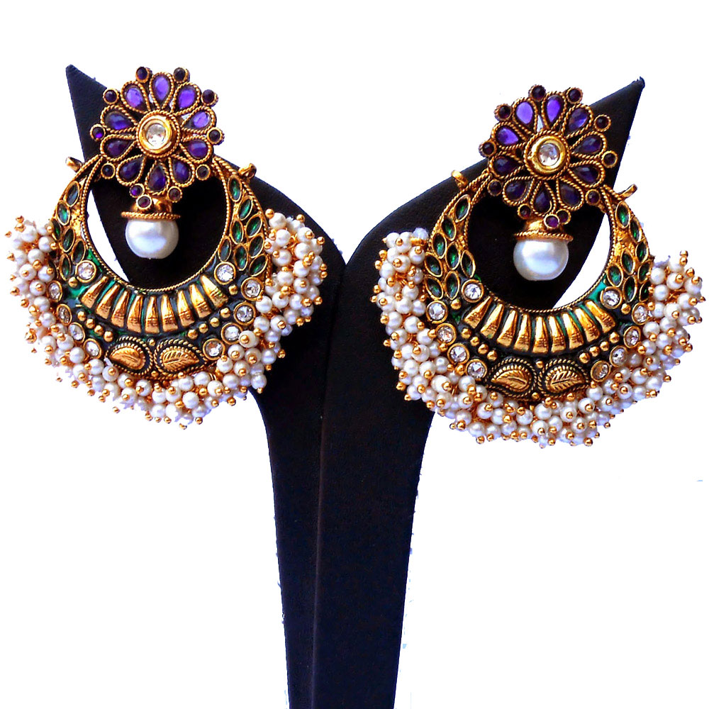 Purple ram leela earrings