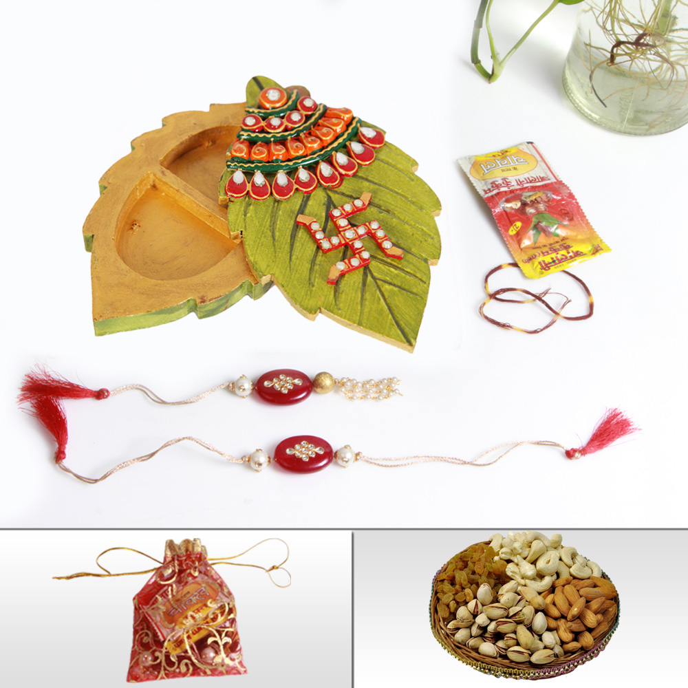 Online rakhi for brother with wooden kundan chopra