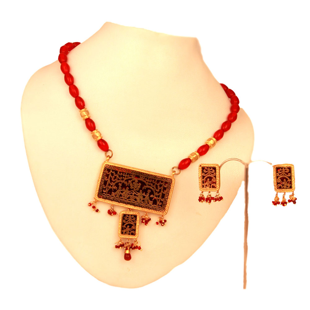 Rectangular red thewa pendant set