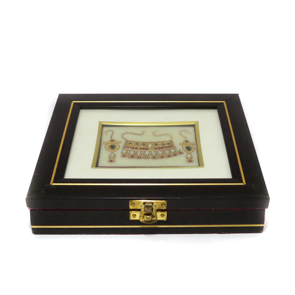 Rectangular Shaped Wooden and Marble Box