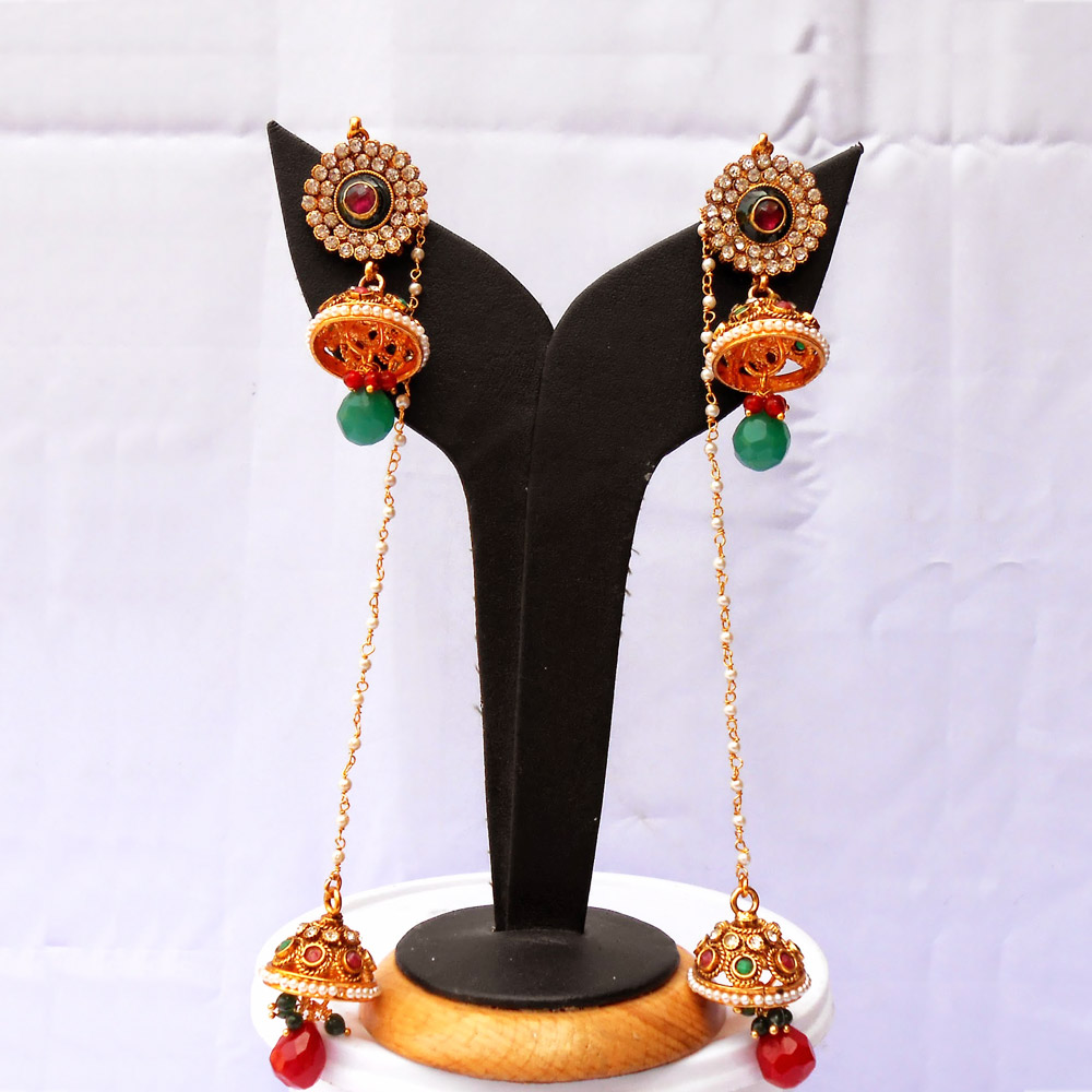 Red & green stone embedded dual jhumka earrings