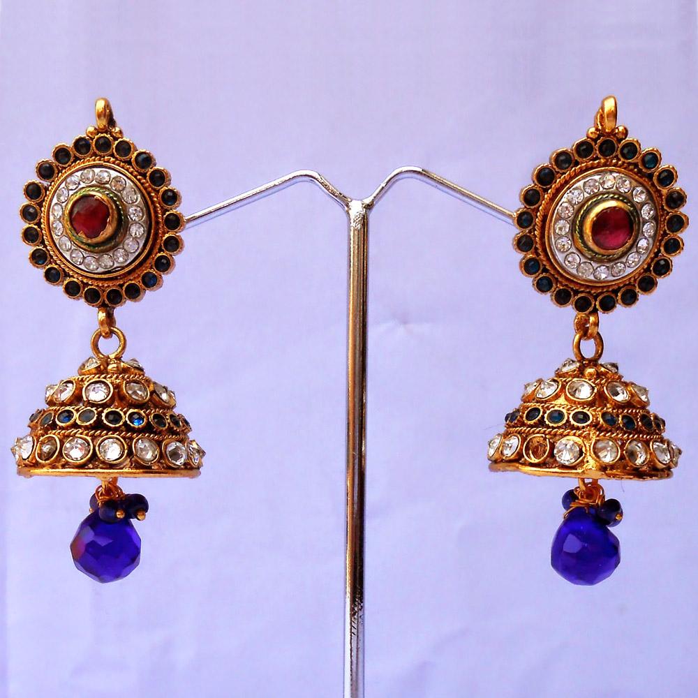 Red & green stone embedded stylish jhumki earrings