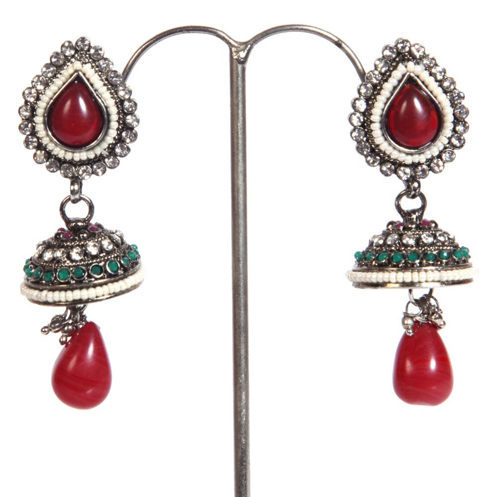 Red gem studded jhumki