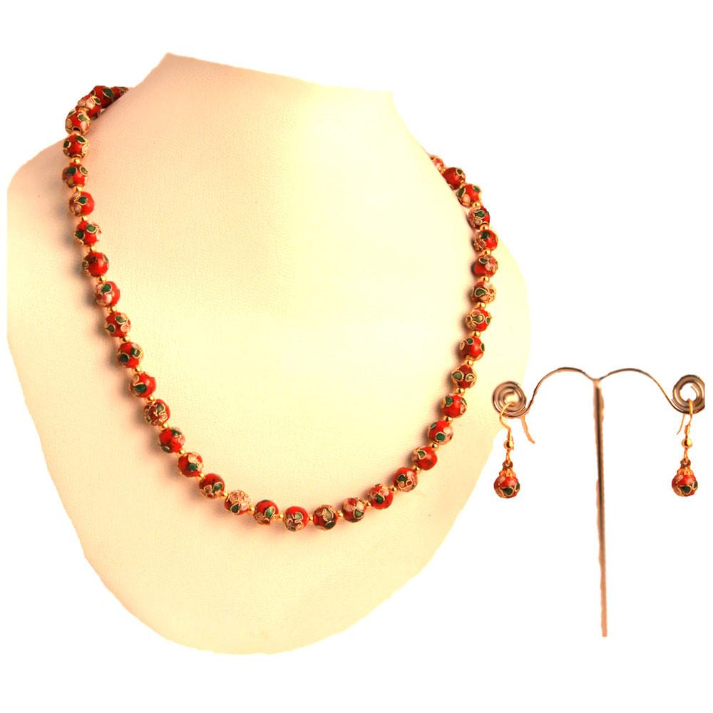 Red meena balls hanging necklace