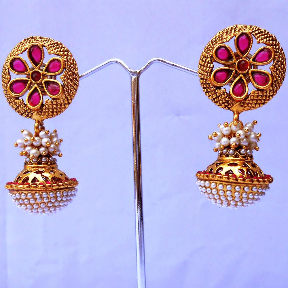 Red stone embedded designer ram leela earrings